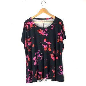 Philosophy blouse black floral knit short sleeve